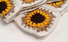FREE Crochet Pattern - The Sunflower Blanket by BrennaAnnHandmade Crochet Baby Blanket Tutorial, Crochet Square Blanket, Granny Square Crochet Pattern, Afghan Crochet Patterns, Crochet Motif, Crochet Designs, Crochet Stitches, Crochet Blankets, Double Crochet