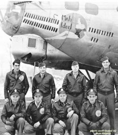Mah Ideel - 91st Bomb Group (H) 324 Squadron -Sgt. Ray Kuenzler, Waist Gunner; Sgt. Al Nosse, Ball Turret Gunner; Sgt. Luther Hutton, Radio Operator; Sgt. Lou Schweda, Top Turret Gunner.  Front Row - Left to Right:  1st Lt. Welden Brubaker, Pilot; 1st Lt. William Uphoff, Co-Pilot; 1st Lt. Henry Jensen, Bombardier; 1st Lt. Sam Halpert, Navigator