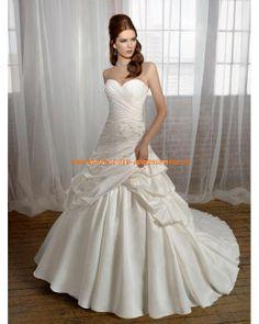 Süßes Brautmode plissiert A-Linie aus Taft Creme onlinie 2013