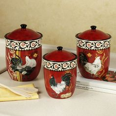 Image detail for -Home La Provence Rooster Kitchen Canister Set Multi Warm Set of Three
