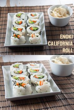 Enoki California Roll #vegan #healthy from ElephantasticVegan.com