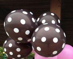 polka dot baby shower decorations #polka #dot #balloons - brown with white polka dots