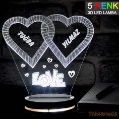 Tahtamoda 3D 3 Boyutlu Dekoratif Led Lamba Kişiye Özel Kalp 2Li - tht3d025