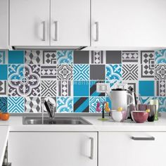 Kitchen Tiles Sizes tile stickers - tile decals - backsplash tile - vintage blue gray