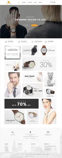 ST Watch is an advanced #PSD theme for online #luxury watch shop #eCommerce website with 6 multipurpose homepage layouts download now➩ https://themeforest.net/item/st-luxury-watch-psd-template/17510346?ref=Datasata