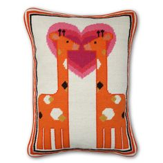 "Kissing Giraffe Pillow by Jonathan Adler: Handmade 100% wool needlepoint. Measures 12 x 16"". #Pillow #Giraffe #Jonathan_Adler"