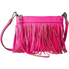 Rebecca Minkoff Mini Fringe Crossbody (Electric Pink) Cross Body... ($106) ❤ liked on Polyvore featuring bags, handbags, shoulder bags, pink, shoulder strap handbags, leather handbags, purse crossbody, pink leather handbags and leather shoulder handbags
