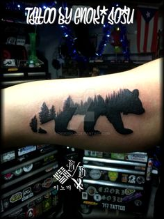 Cali Bear Tree Line Tattoo by Enoki Soju by enokisoju.deviantart.com on @DeviantArt