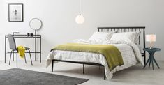 MADE Essentials Edna glass Easyfit Lamp Shade, Opal | MADE.com Vintage Bedroom Styles, Bedroom Vintage, Black Metal Bed Frame, Super King Size Bed, Retro Bedrooms, Deco Addict, Black Bedding, Metal Beds, Vintage Bedrooms