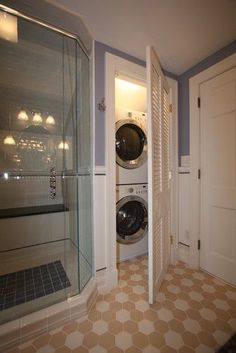 Image result for hiding a washer and dryer in the bathroom