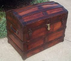 Antique Trunk Dome Top with a Shadow Box and Steamer Trunks Make the perfect military retirement gifts for military promotions, enlisted or officer