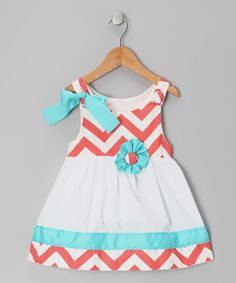 Look what I found on #zulily! Caught Ya Lookin' Coral & White Chevron Lucy Mae Dress - Infant & Toddler by Caught Ya Lookin' #zulilyfinds