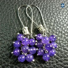 ♥ EASY SHIP TO USA  Elegant Purple Veined Agate & Plated Silver Cluster Earrings  | eBay
