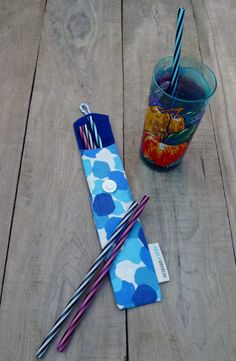 Blue Reusable straw case, zero waste, Reusable straw bag made from recycled fabric X 23, Recycled Fabric, Zero Waste, Bag Making, Straw Bag, Recycling, Creations, Couture, Boutique