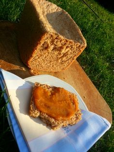 My Black Bread with new peaches jam homemade