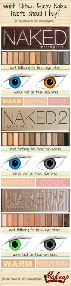 Makeup Utopia Which Naked Palette Should I Buy Httpmakeuputopiacom Urbandecay Makeup To Buy, Love Makeup, Makeup Inspo, Makeup Inspiration, Makeup Tips, Makeup Looks, Pretty Makeup, All Things Beauty, Beauty Make Up