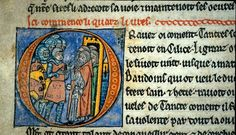 "Via Deborah Harkness, ASTDG ""A more flattering picture of young Baldwin?? from The British Library's copy of William of Tyre's Histoire d'Outremer. French MS, written between 1232 and 1261, f. 18v."""