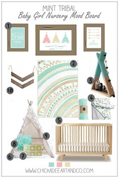 Love this modern mint green tribal nursery!!! Adorable for a little girl!