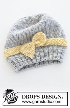 Baby Hat And Mittens, Baby Hats Knitting, Baby Knitting Patterns, Free Knitting, Knitted Hats, Knitting Stitches, Drops Design, Drops Baby, Easy Knitting Projects