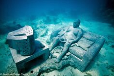 This is worth looking at! Click to the website and check out the other sculptures like a vw bug! Jason deCaires Taylor