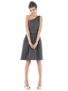 One shoulder cocktail length peau de soie dress with matching wide self belt at natural waist. Full shirred skirt has pockets at side seams. (Alfred Sung Style D530, color ebony, looks like charcoal grey)