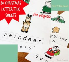 Christmas Letter Tile Sheets, christmas printables, christmas freebies