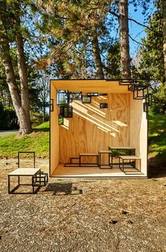 Wood Architecture The JOINTED CUBE is a steel framed outdoor, pavilion-like installation that is… Pavilion Architecture, Urban Architecture, Sustainable Architecture, Residential Architecture, Contemporary Architecture, Urban Furniture, Street Furniture, Cube Furniture, Concours Design
