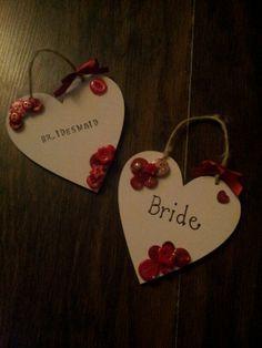 Hanging hearts button art door hangers wedding bride bridesmaid gift