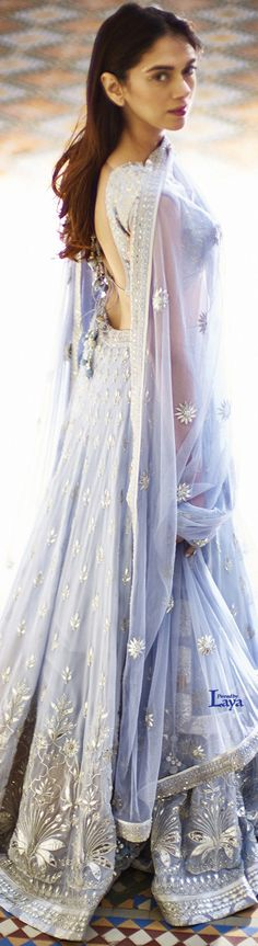 Blue lehenga with backless blouse and duppatta Pakistani Dresses, Indian Dresses, Indian Outfits, Indian Attire, Indian Ethnic Wear, Ethnic Suit, Traditional Fashion, Traditional Outfits, India Fashion