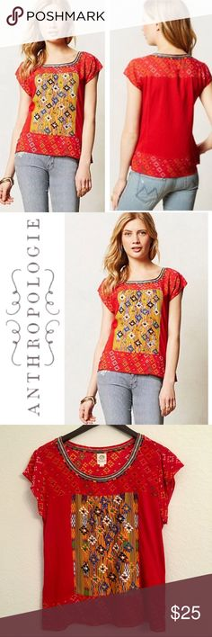 Anthropologie Tiny Embroidered Plevna Top ✔️Embroidered Neckline and Center Panel ✔️100% Rayon ✔️No Holes, Stains or Damages Anthropologie Tops