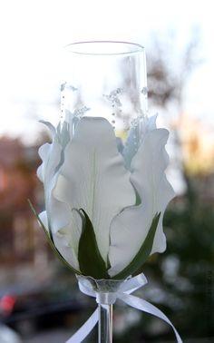 """Купить Свадебные бокалы """" Белые лилии"""" - белый, свадебные бокалы, свадебные аксессуары"""