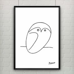 Pablo Picasso The Owl Print Canvas Abstract Animals Minimalist Wall Art Kids Room Bar Office, Home Decor, frame not included $7.99
