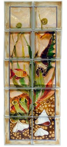 Painted glass block wall