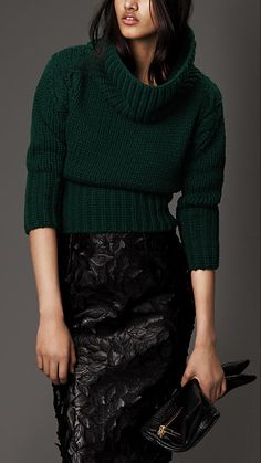 Burberry Prorsum Funnel Neck Wool Cashmere Sweater
