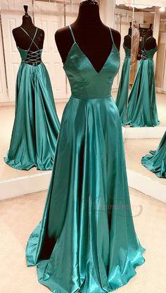 Simple A-line V Neck Teal Long Prom Dress with Lace Up Back - Abschlussball Kleider Teal Prom Dresses, Pretty Prom Dresses, Prom Outfits, Ball Dresses, Simple Dresses, Cute Dresses, Beautiful Dresses, Formal Dresses, Wedding Dresses