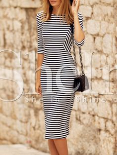 Shop White Black Half Sleeve Striped Dress online. SheIn offers White Black Half Sleeve Striped Dress & more to fit your fashionable needs.