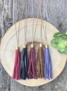 Long Tassel Necklace, Purple Leather Tassel Necklace, Lilac Leather Jewelry Lavender Tassel Deerskin Necklace Boho Jewelry Gold Necklace by TheCordGallery on Etsy https://www.etsy.com/listing/554189188/long-tassel-necklace-purple-leather