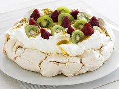 Traditional Pavlova with kiwi and passion fruit.  Basically it's a mirangue tower topped with whipped cream. I think this is awesome. It says cider vinegar in the recipe but then never says when to put it in, so I would ignore that.