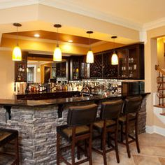 Basement Stone Bar Design, Pictures, Remodel, Decor And Ideas