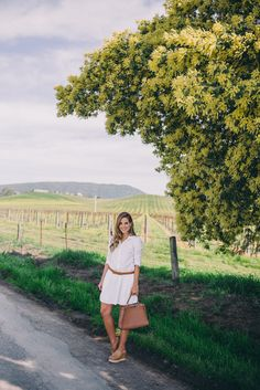Gal Meets Glam Spring In Napa Valley - Splendid x Damsel In Dior Dress, Ferragamo Wedges and Fendi Bag