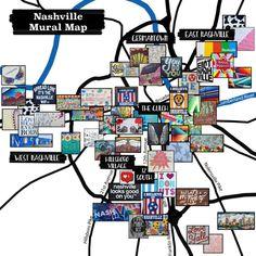 Murals - Nashville Mural Map with Address - Nashville Mural Map with Address - Nashville Map, Nashville Murals, Weekend In Nashville, Nashville Vacation, Visit Nashville, Tennessee Vacation, Nashville Tennessee, Girls Trip Nashville, Nashville Things To Do