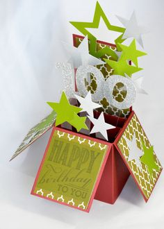 3D Milestone Birthday Card Box Card with Stars by APaperParadise
