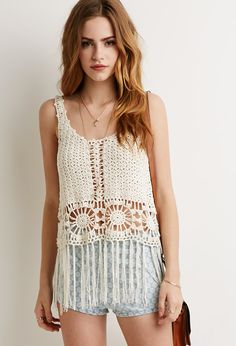 Sunburst Crochet Fringe Tank - Shop All - 2002247882 - Forever 21 EU