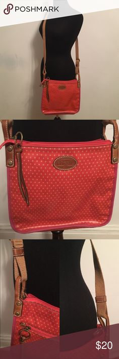 Fossil Crossbody Bag Gloss Canvas 11 inches by 10 inches; very light wear to actual purse and leather; back is slightly darker from rubbing against jeans; 50-inch adjustable strap shows signs of wear, as pictured Fossil Bags Crossbody Bags