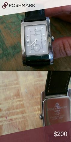 Baume & Mercer Watch Beautiful Rectangle Faced Silver watch with black leather band Baume &Mercer Accessories Watches