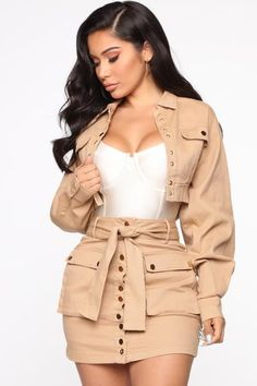 Lose Control Denim Skirt Set - Khaki - The Effective Pictures We Offer You About fashion work A quality picture can tell you many things. Cute Swag Outfits, Classy Outfits, Stylish Outfits, Girl Outfits, Fashion Outfits, Fashion Shirts, Modest Outfits, Denim Fashion, Look Fashion