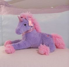 "16"" Plush LAVENDER PURPLE AND PINK UNICORN PONY Valentine Gift Stuffed Animal"