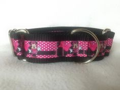 Nylon w/Minnie Mouse Ribbon Leash Martingale by DogCollarsByDesign