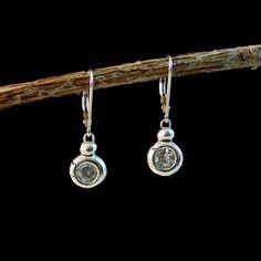 Fine Silver Round Block Earring by CareyAnnJewels on Etsy, $45.00