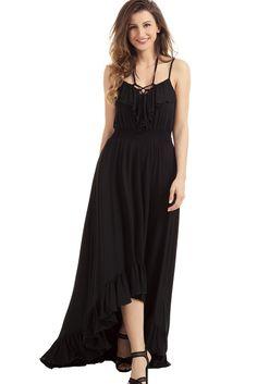 Robe Longue de Soiree Noire Salut-Bas Lacets A Bretelles Volants Pas Cher  www.modebuy.com  @Modebuy #Modebuy #Noir  #femme #mode #sexy